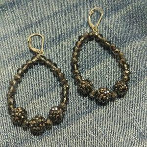 Gun metal gray bead and wire earrings